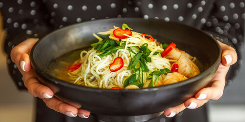 Bowl of chilli prawn ramen